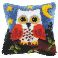 Owl On Blue Latch Hook Cushion Front Kit. Orchidea, 40x40cm Prin