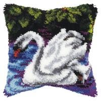 Latch Hook Cushion Front Kit Green Owl Orchidea  25x25cm Printed canvas Small
