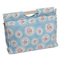 Knitting & Sewing Bag with Wooden Handles - Blue Cameo Floral