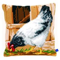 Grey Chicken Chunky Cross Stitch Cushion Front Kit