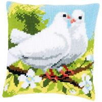 White Pigeons Printed Chunky Cross Stitch Cushion Front Kit 40x4