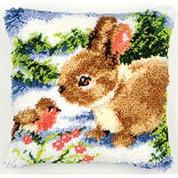 Rabbit & Robin Latch Hook Cushion Front Kit 40x40cm
