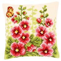 NEW Hollyhocks Chunky Cross Stitch cushion front Tape