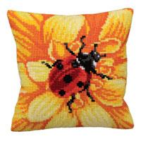 Gerbera & Ladybird Chunky Cross Stitch Cushion Front Kit