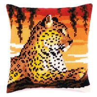 Leopard Chunky Cross Stitch Cushion Front Kit 40x40cm