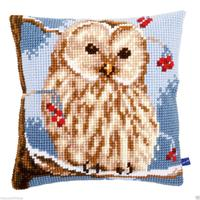 Winter Owl Chunky Cross Stitch Cushion Front Kit 40x40cm