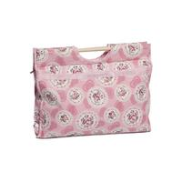 Knitting & Sewing Bag with Wooden Handles - Pink  Cameo Floral