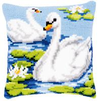 NEW - Swans Chunky Cross Stitch Cushion Front Kit By Vervaco