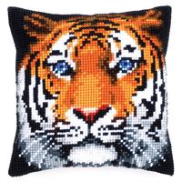 Tiger With Blue Eyes Chunky Cross Stitch Cushion Front Kit by Ve
