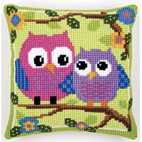 Owls On A Branch Chunky Cross Stitch Cushion Front Kit