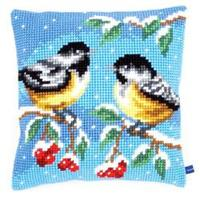 2 Birds In Winter Chunky Cross Stitch Cushion Front Kit 40x40cm
