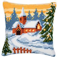 Winter Landscape Chunky Cross Stitch Cushion Front Kit