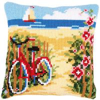 Beach Bycycle Chunky Cross Stitch Cushion Front Kit