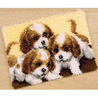 Three Puppies Latch Hook rug making kit. Vervaco