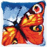 Bright Butterfly Latch Hook Cushion Front Kit Vervaco