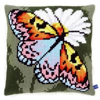 Butterfly & Daisy Printed Chunky Cross Stitch Cushion Front Kit