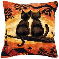 Sunset Cats, Cushion Front Tapestry Kit