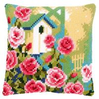 Birdhouse & Roses Chunky Cross Stitch Cushion Front Kit