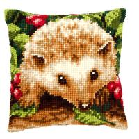 Hedgehog With Berries Chunky Cross Stitch Cushion Front Kit