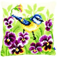 Bluetit On Pansies Chunky Cross Stitch Cushion Front Kit