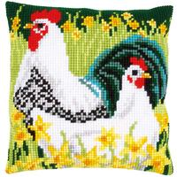 Chickens Chunky Cross Stitch Cushion Front Kit By Vervaco