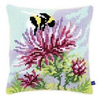 Thistle With Bumblebee Chunky Cross Stitch Cushion Front Kit