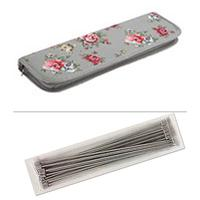 Grey Floral material knitting pin set c/w 10 pairs needles