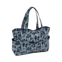 Soft Cotton Knitting Bag Craft Storage Bag - Nordic Navy