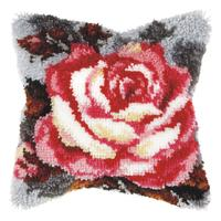 Rose On Grey Latch Hook Cushion Front Kit. Orchidea, 40x40cm Pri