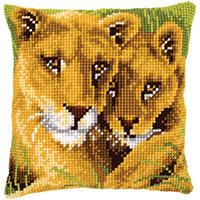 African Lions Chunky Cross Stitch Cushion Front Kit by Vervaco