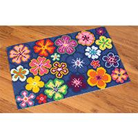 Flower Power Cross Stitch Rug Kit  30x20 inches