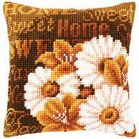 Modern Daisies Chunky Cross Stitch cushion front Tape
