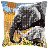 Elephant & Calf Chunky Cross Stitch Cushion Front Kit