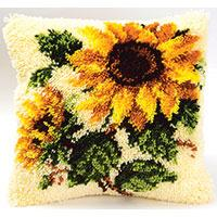 Sunflowers Latch Hook Cushion Front kit by Vervaco
