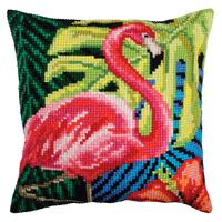 Pink Flamingo Chunky Cross Stitch Cushion Front Kit