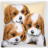 Three Brown & White Puppies,Chunky Cross Stitch Cushion Front Ki