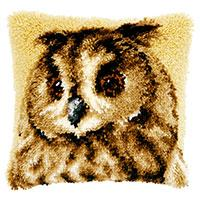 Brown Owl Latch Hook Cushion Front Kit 40x40cm