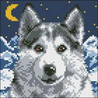 Wolf, Chunky Cross Stitch Cushion Front Kit 40x40cm