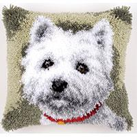 Young Westie Latch Hook Cushion Front Kit 40x40cm