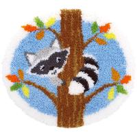Racoon Up A Tree Vervaco Latch Hook Kit 54x50cm