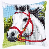 White Horse. Chunky Cross Stitch Cushion Front kit PN-0144434