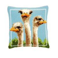 Ostriches Chunky Cross Stitch Cushion Front Kit