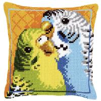 Budgies Chunky Cross Stitch Cushion Front Kit 40x40cm