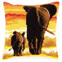 Elephants Chunky Cross Stitch Cushion Front Kit by Vervaco