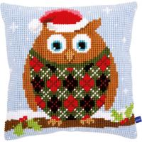 Christmas Owl Chunky Cross Stitch Cushion Front Kit 40x40cm