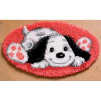 Puppy On Red Mat latch hook Rug Making Kit. 28x16""