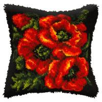 Poppies Latch Hook Cushion Front Kit. Orchidea, 40x40cm Printe