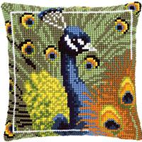 Peacock Chunky Cross Stitch Cushion Front Kit 40x40cm PN-0145700