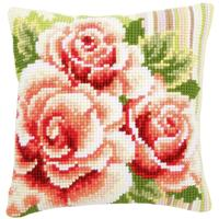 Pink Roses I Chunky Cross Stitch Cushion Front Kit