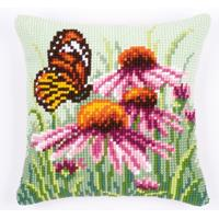 Butterfly On Coneflower Chunky Cross Stitch Cushion Front Kit